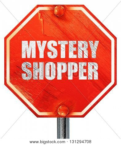mystery shopper, 3D rendering, a red stop sign