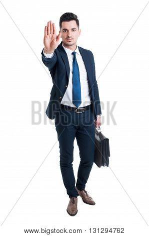 Handsome Sales Man Showing Stop Gesture