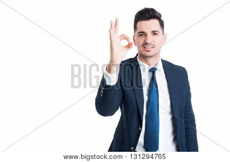 Sales Man Showing Perfect Or Excellent Gesture