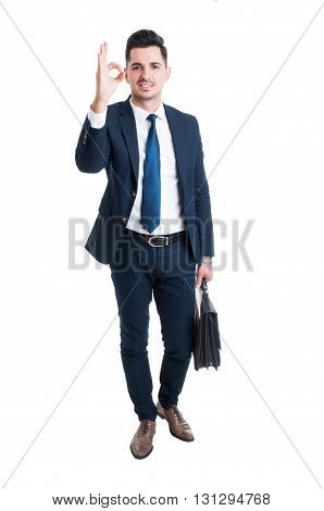 Businessman Showing Excellent Or Perfect Gesture Standing