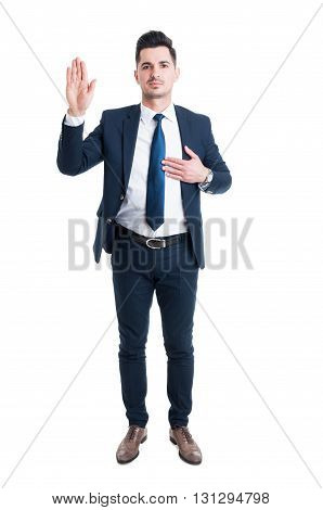 Honest Lawyer Hand On Heart As Swear Or Oath Gesture