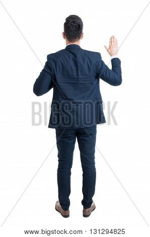 Back view of a lawyer making an oath as honesty concept