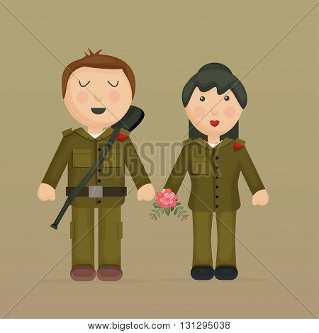 Cartoon illustration of soldiers, girl and boy.