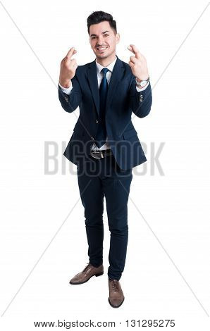 Salesman Or Businessman Making Good Luck Gesture