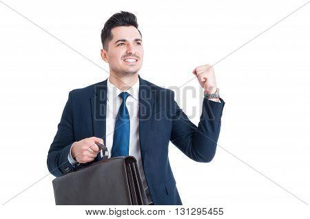 Handsome Young Joyful Successful Businessman Or Salesman