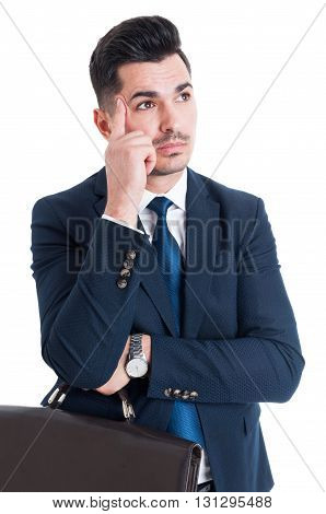 Young Handsome Salesman Thinking Gesture