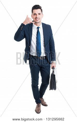 Standing Salesman Making Call Me Gesture