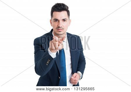Business Man Making I See You Gesture
