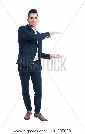 Smiling Salesman Holding Copy Space With Hands