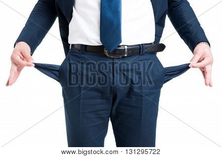 Poor Businessman Showing Empty Pants Pockets