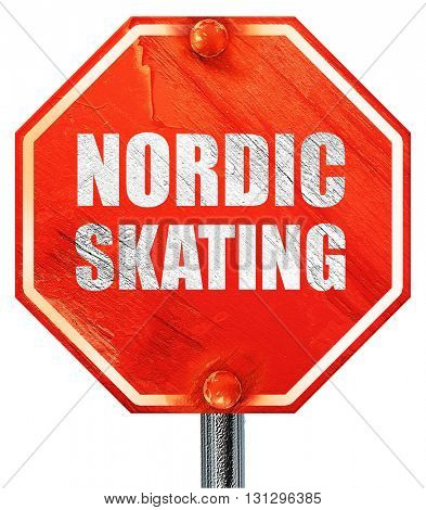 nordic skating, 3D rendering, a red stop sign