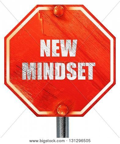 new mindset, 3D rendering, a red stop sign