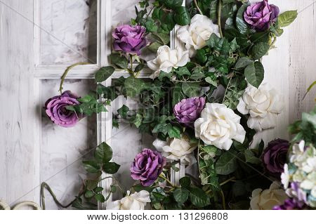 Wedding decoration of flowers for the ceremony in restaurant.