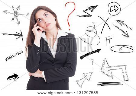 Businesswoman Thinking About A Problem And Looking For Solution