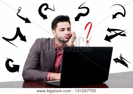 Attractive Tired Businessman Working On His Computer