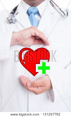Healthy Heart Concept With Young Doctor Showing Digital Heart