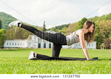 Fit Attractive Woman Doing Aerobic Exercise In The Park