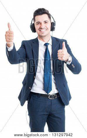 Handsome Joyful Lawyer Listening Music And Doing Double Thumbup Gesture
