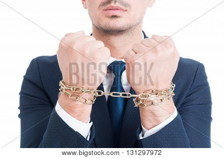Closeup Photo Of Lawyer Hands With Chain Arrested For Bribe