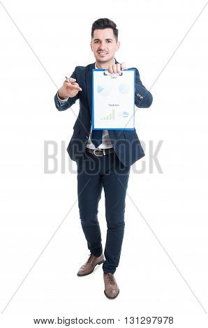 Attractive Young Businessman Holding Clipboard With Financial Diagrams Report