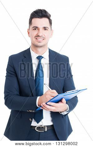 Portrait Of Cheerful Salesman With Clipboard Taking Notes