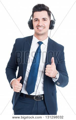 Smiling Attractive Lawyer Doing Thumbup Gesture And Listening Music