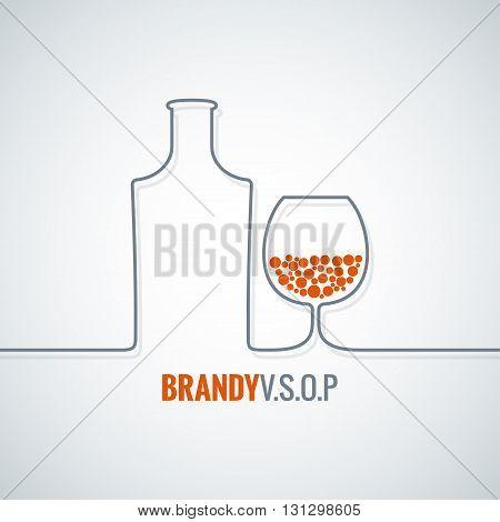 brandy glass bottle vector background 10 eps