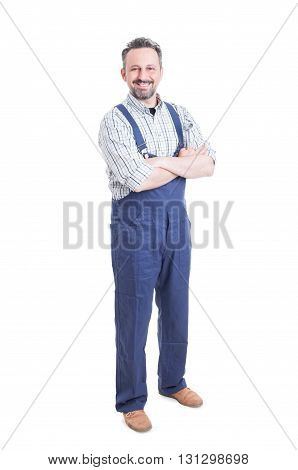 Full Body Of Joyful Mechanic With Spanner In His Hands