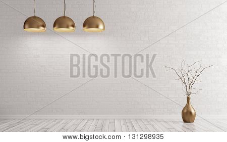 Room With Metal Brass Lamps Over White Brick Wall 3D Rendering