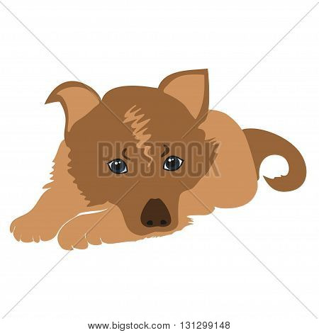 Cute cartoon puppy lying vector illustration. Sad puppy vector. Pet Dog lying. Cartoon dog sad isolated.