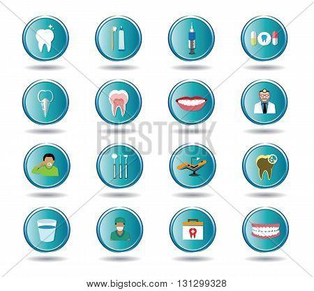 Modern flat dental icons set .It's for dental advertising and dental illustration.