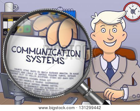 Man Holds Out a Concept on Paper Communication Systems. Closeup View through Magnifier. Colored Modern Line Illustration in Doodle Style.