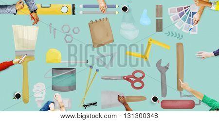 Equipment Tools Craft Construction Work Concept