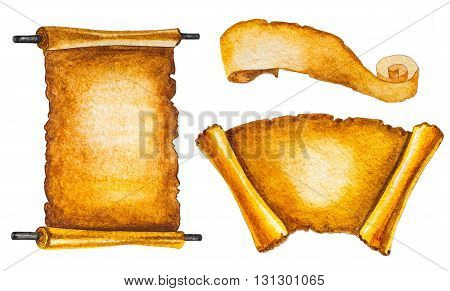 set of old scrolls isolated on white. hand painted watercolor illustration