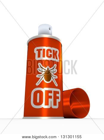 Illustration of anti-tick spray with cap over white background. 3D rendering. Metallic painting label.