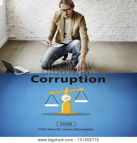 Corruption Bribe Cheat Illegal Money Finance Concept