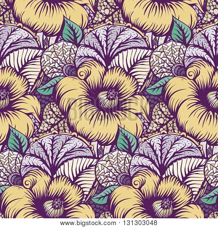 Seamless pattern with Flowers. The pattern for light summer fabrics or wrapping paper. Hand-drawn illustration. Vector illustration.