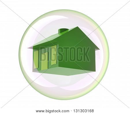 House In Bubble Isolated On White