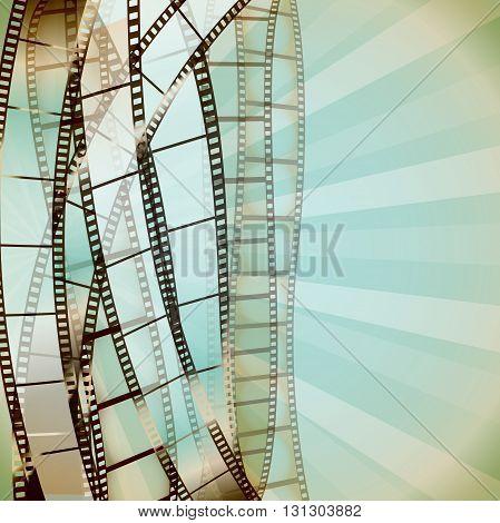 cinema retro background with film strips. vector