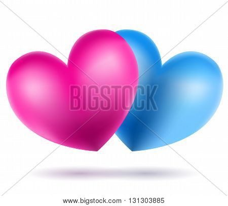 blue and pink heart symbols on white. vector