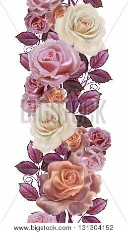 Vertical floral border. Pattern seamless. Old style. Garland of pastel roses. Isolated.