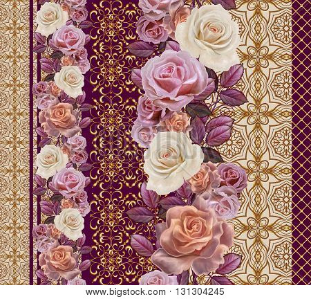 Flower garland of roses in gold braiding. Vertical floral border. Pattern seamless. Old style gold border gold mosaic.