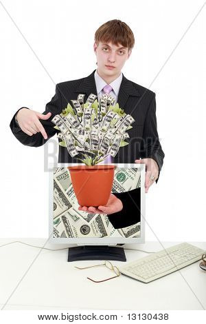 Computer Money tree with businessman. Isolated on white.