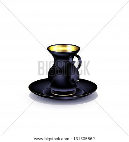 white background and the large black golden cup