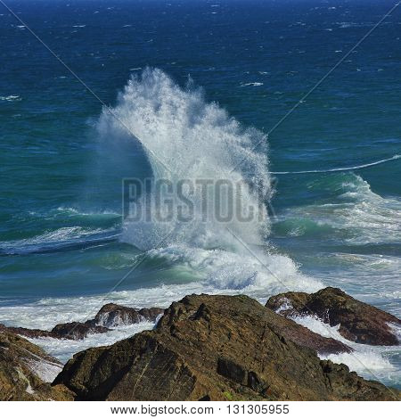 Turquoise water of the pacific. Splashing wave. Scene in Port Macquarie Australia.