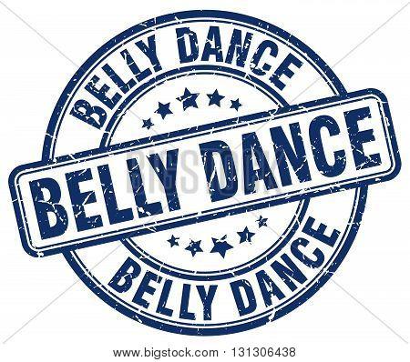 belly dance blue grunge round vintage rubber stamp.
