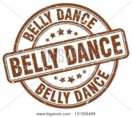 belly dance brown grunge round vintage rubber stamp.