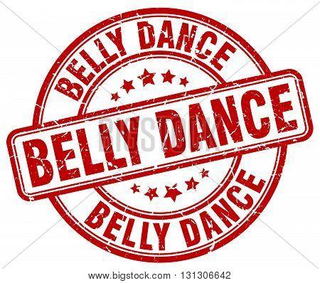 belly dance red grunge round vintage rubber stamp.
