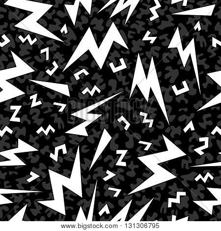 Retro Shape Seamless Pattern In Black And White