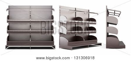 Set of different view of shelves for baking on white background. 3d rendering.